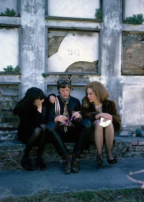 Toni Basil, Peter Fonda and Karen Black on the set of 'Easy Rider,' directed by Dennis Hopper, New Orleans, Louisiana, 1968.