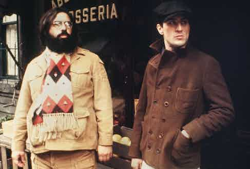 Director Francis Ford Coppola guides Robert De Niro in a scene in The Godfather Part II in 1974 in New York, New York. Photo by Michael Ochs Archive/Getty Images.