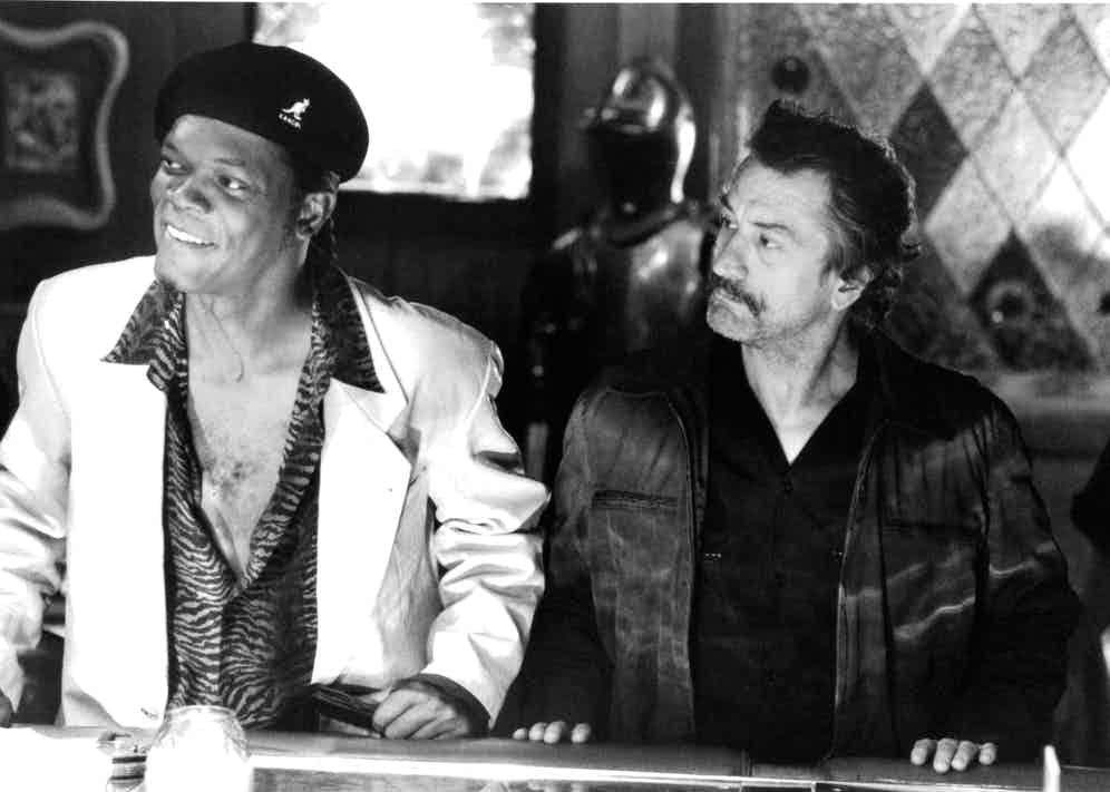 """Actor Samuel L. Jackson and actor Robert De Niro in a scene from the Miramax movie """"Jackie Brown"""", circa 1997.  Photo by Michael Ochs Archives/Getty Images."""