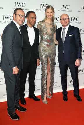 Geneva, Switzerland - January 21: Kevin Spacey, Lewis Hamilton, Karolina Kurkova and Georges Kern, CEO of IWC Schaffhausen attend the iWC Inside The Wave Gala during the Salon International de la Haute Horlogerie (SIHH) 2014 at the Palexpo on January 21, 2014 in Geneva, Switzerland. Photo by Photopress/IWC Schaffhausen/Chris Jackson).