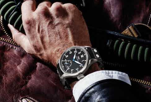 IWC Big Pilot's Heritage Watch 48 in titanium with brown calfskin strap.