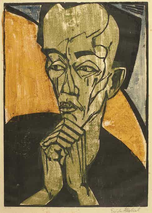 Day Sale Lot 167 Erich Heckel (1883-1970) Männerbildnis (Portrait of a Man), 1919 Woodcut printed in black, blue, green and ochre, image: 46.2 by 32.6cm.; sheet: 50.3 by 36.7cm. £30,000-50,000 / €35,300-59,000 / US$39,700-66,500