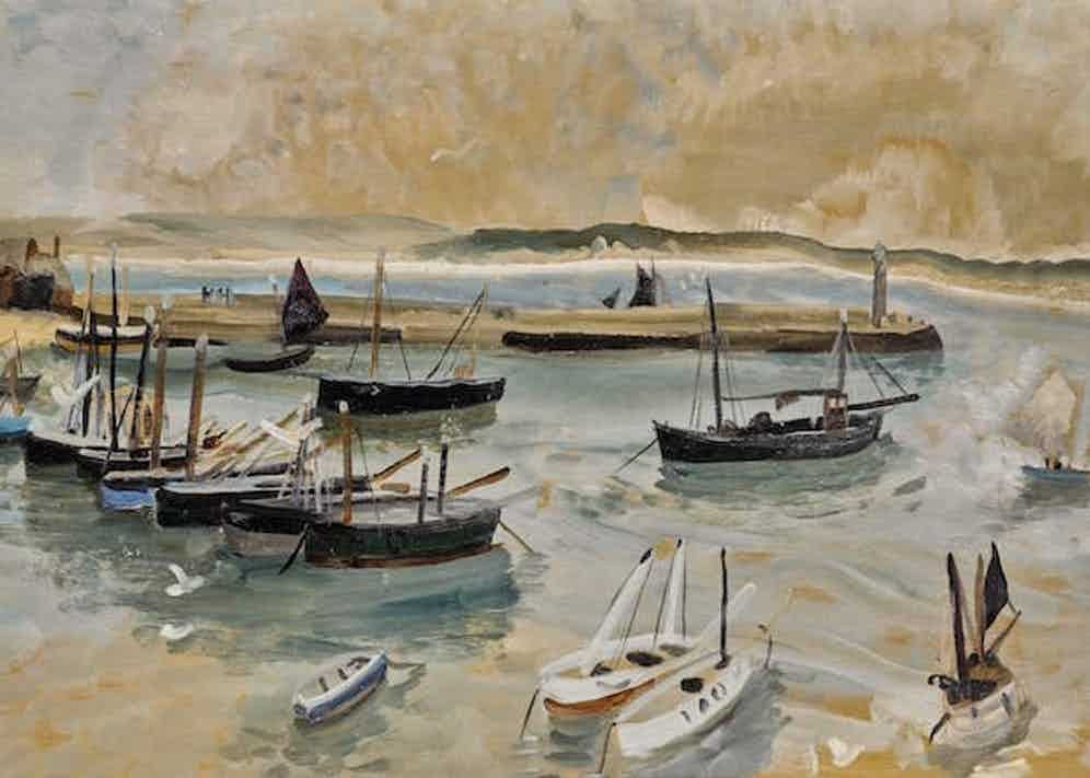 Evening Sale Lot 2 Winifred Nicholson (1893-1981) St Ives Harbour, 1928 oil and coloured pencil on panel, 56.5 by 103.5cm. £50,000-70,000 / €59,000-82,500 / US$66,500-92,500