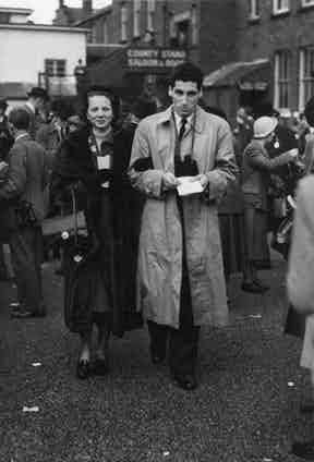 The jockey and owner, the Marquis de Portago, at Aintree with his wife, Carroll, 1950.  Photo by Keystone/Getty Images.