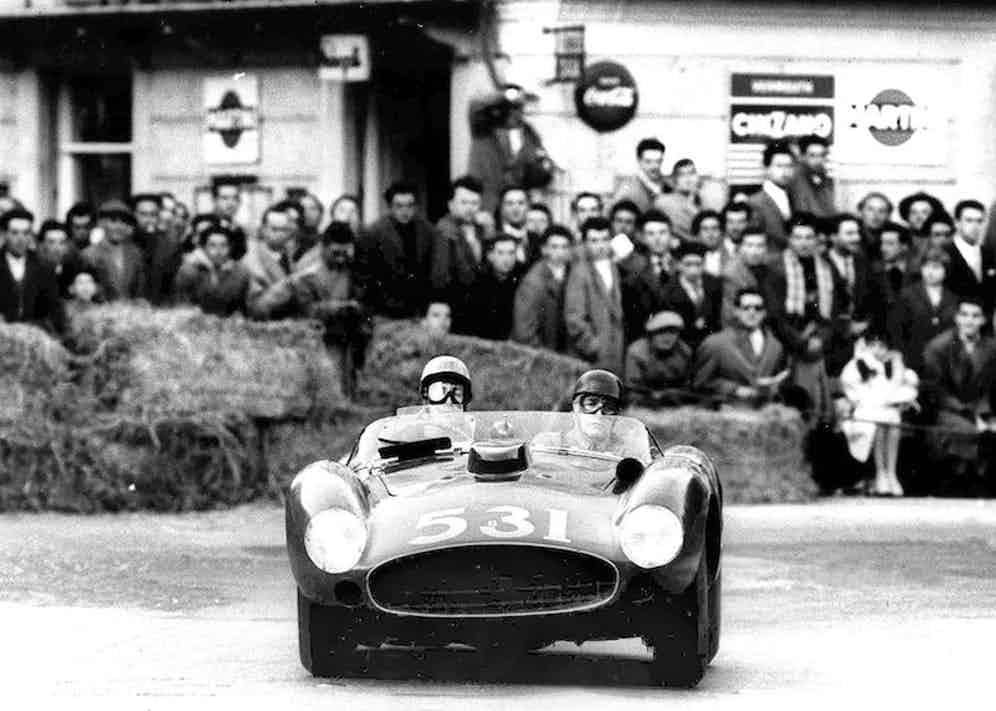 Alfonso De Portago with the navigator American Nelson in a Ferrari at the Mille Miglia Motor Race, Italy, 1957. Photo by Olycom SPA/REX/Shutterstock.
