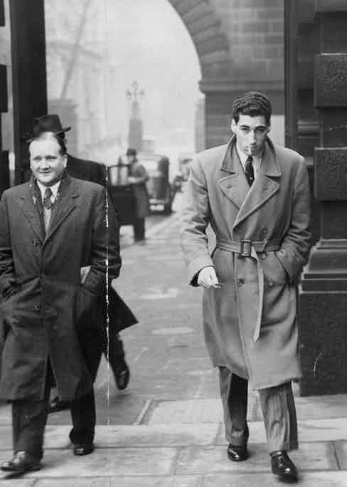Marquis of Portago pictured leaving Scotland Yard after inquiry. Photo by John Twine/ANL/REX/Shutterstock.