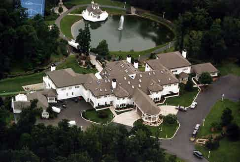 Aerial view of Mike Tyson's house, Connecticut, 1996. Photo by Sipa Press/REX/Shutterstock.