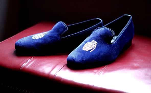 Foot Grenade: Crockett & Jones for The Rake Velvet Slippers