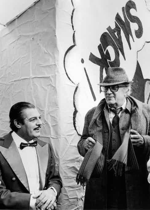"Marcello Mastroianni and Federico Fellini in a scene from the movie ""Fellini's Intervista"", circa 1987.  The movie was re-released in 1992.  Photo by Michael Ochs Archives/Getty Images."