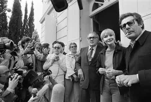 From left: Italian film director Federico Fellini, French actress Anna Prucnal and Italian actor Marcello Mastroianni,  during the 33rd Cannes Film Festival, 1980 in Cannes prior to the screening Fellini's last movie ''la Citta delle donne''. (Photo credit should read Ralph Gratti/AFP/Getty Images).