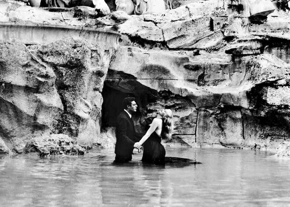 "Scene of film ""La Dolce Vita"" of Federico Fellini, with Marcello Mastroianni and Anita Ekberg. 1960. Photo by Roger Viollet Collection/Getty Images."