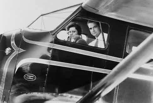 Howard Hughes and actress Nancy Carroll just before taking off for Los Angeles, 1937. Photo by Everett/REX/Shutterstock.