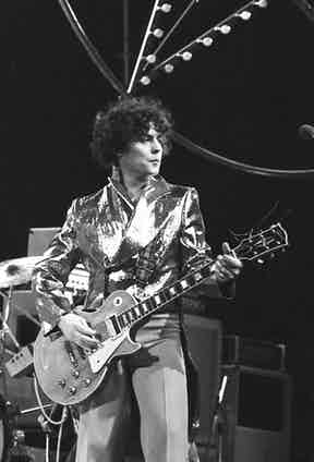Photo of Marc Bolan and T-Rex performing on an ITV show. Photo by Gus Stewart/Redferns.