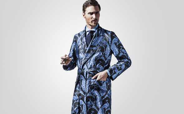 New & Lingwood for The Rake Silk Jacquard Dressing Gowns