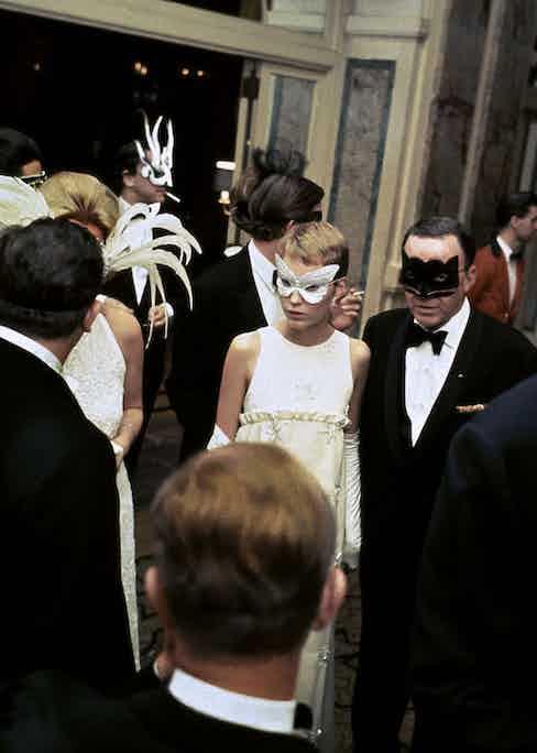 "Mia Farrow at Truman Capote's ""Black and White Ball"" at the Plaza Hotel. New York City, 1966. Photo by Elliott Erwitt courtesy of Magnum Photos."