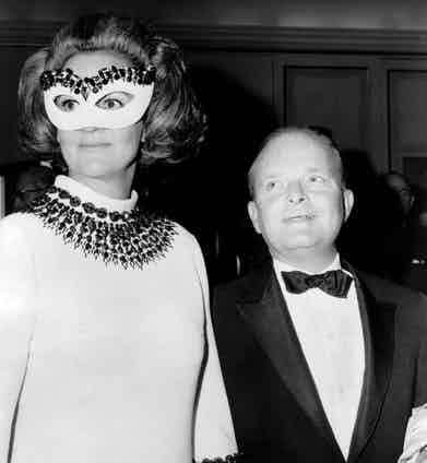 Truman Capote with Washington Post publisher, Katherine Graham at his 1966 Black and White ball. Photo by Everett/REX/Shutterstock.