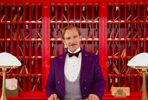 Gustave H. played by Ralph Fiennes in The Grand Budapest Hotel, 2014.