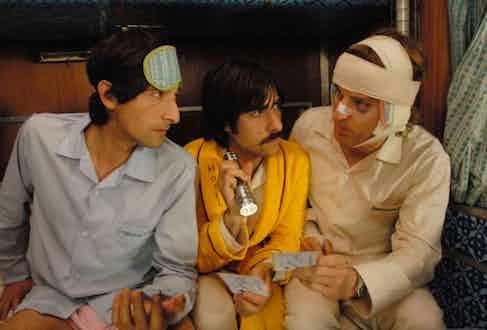 Jason Schwartzman, Adrien Brody and Owen Wilson in The Darjeeling Limited (2007).