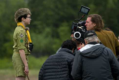 Jared Gilman and Wes Anderson on set of Moonrise Kingdom (2012). Photo by Indian Paintbrush/REX/Shutterstock.