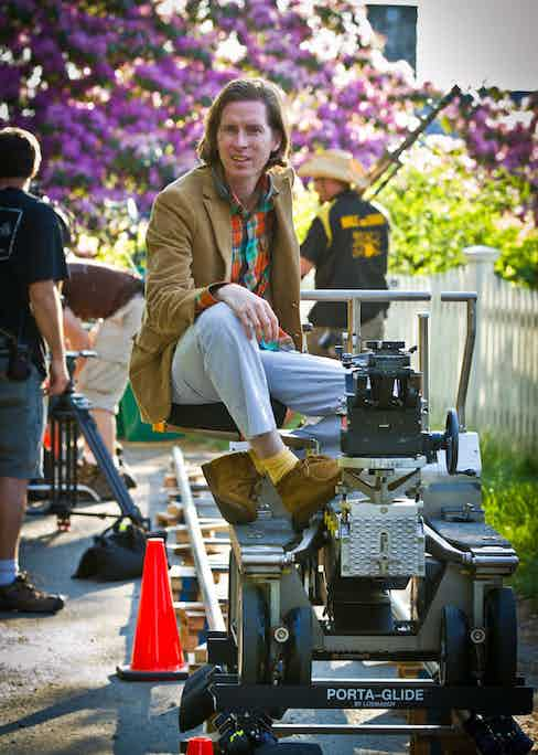 Wes Anderson on set of Moonrise Kingdom (2012). Photo by Indian Paintbrush/REX/Shutterstock.