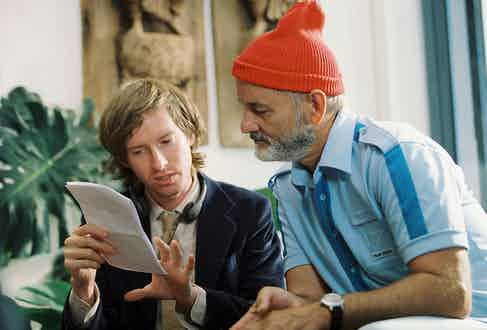 Wes Anderson and Bill Murray on set of The Life Aquatic With Steve Zissou. Photo by Philippe Antonello/Touchstone/REX/Shutterstock.