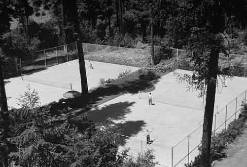 An aerial view showing the tennis courts on publisher William Randolph Hearst's estate. Photo by Peter Stackpole/The LIFE Picture Collection/Getty Images.