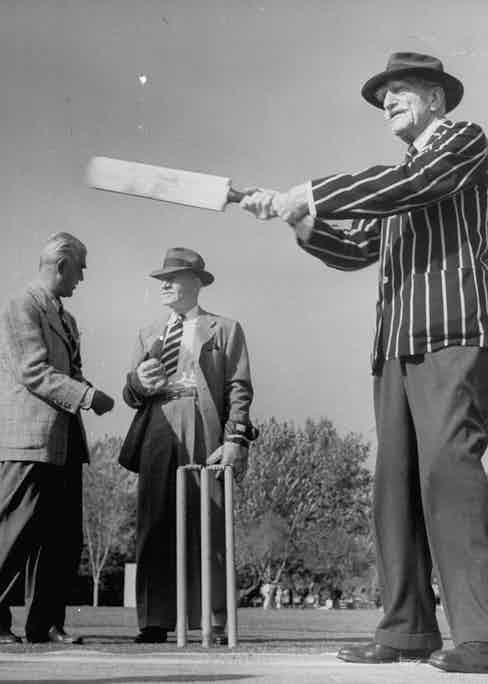 C. Aubrey Smith, Henry Stephenson and Boris Karloff playing cricket. Photo by Loomis Dean/The LIFE Picture Collection/Getty Images.
