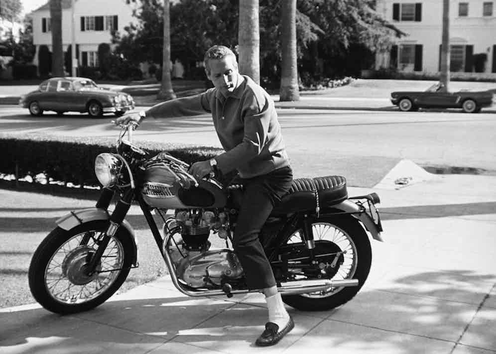 Paul Newman and his Triumph motorcycle 1965 © 1978 David Sutton.