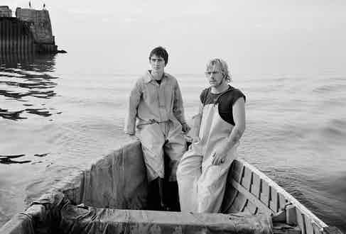 Blackie and Mate at Sea, Skinningrove, North Yorkshire, UK, 1982, by Chris Killip.