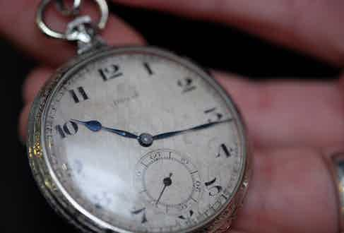 """Clive's pocket watch is an antique Doxa, """"it's not really of any value, but it was my grandfather's"""" he explains. """"It's from the 20s and it still keeps pretty good time, I've never needed to service it."""""""