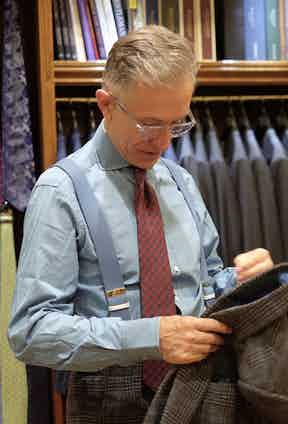 """""""I'm rather getting into denim and denim-look shirts,"""" David explains. """"I think it's a nice way of toning down the formality of a suit; you can wear them with blazers, suits, or even something really formal like a pinstripe. Often when they wash they get a bit worn and develop a bit of personality."""" Here he wears our very own Drake's for The Rake powder blue denim shirt, which brings out the beautiful blue overcheck in his suit. """"I think the widespread collar of this one makes it much more suited to a tie than a lot of options out there,"""" he says."""