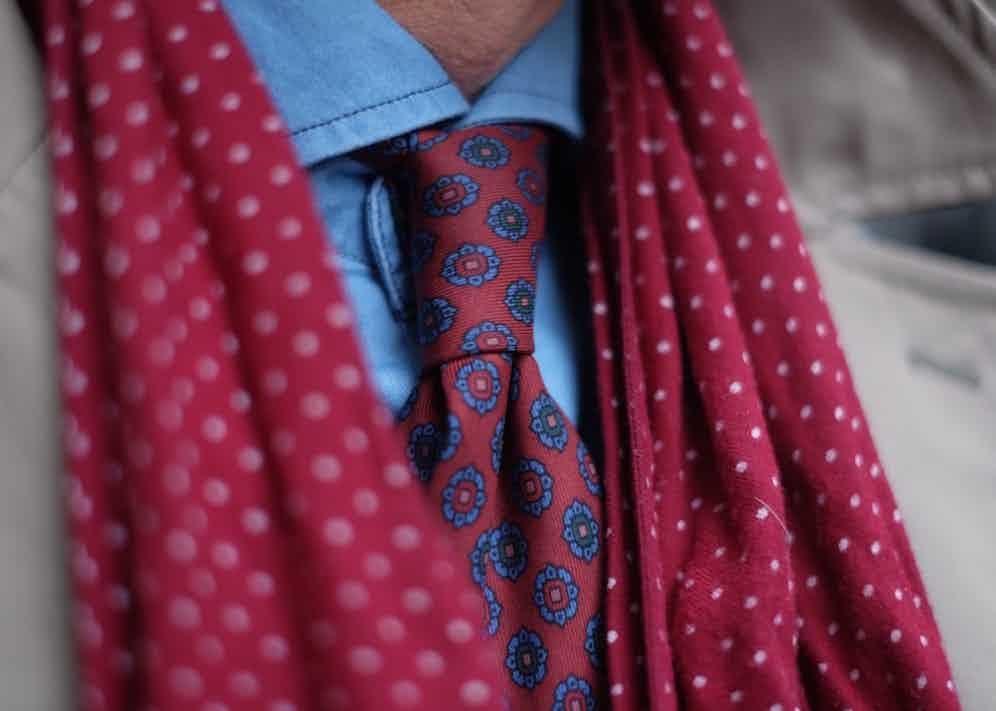 """Ever the champion of British brands, Drake's is inevitably a favourite for David. """"I went to the atelier in East London; it was great fun seeing the tie being made and the process behind it. There's nothing like ancient silk madder too, for that density of colour."""""""