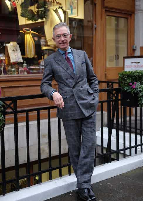 """Savile Row's Dege & Skinner tailored David's suit. His son, who was an officer cadet at Sandhurst, has had uniforms fitted by the house and that together with David's affinity for the military heritage of British structured tailoring made the house an obvious choice. """"I was keen to have a double-breasted suit, but also for Tristan [the cutter] to have a bit of free reign. I love the roped shoulders, turn-back cuffs and buttons on both sides – I feel like I'm in the guards when I'm wearing it, but at the same time it's incredibly comfortable."""""""