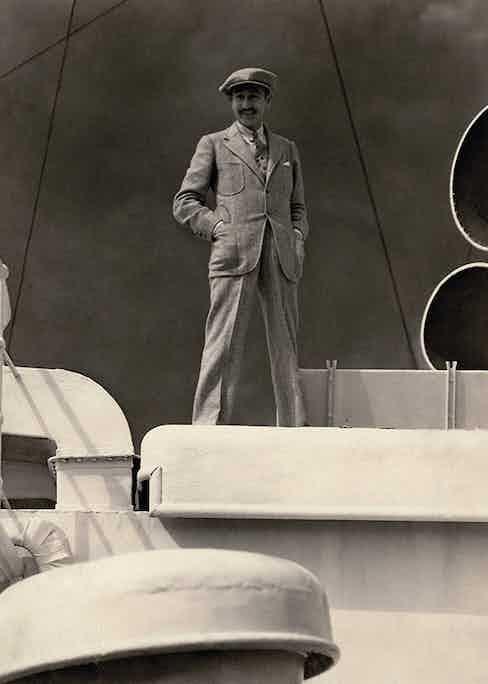 Menjou wearing tweed on deck for a Vanity Fair photoshoot in 1925