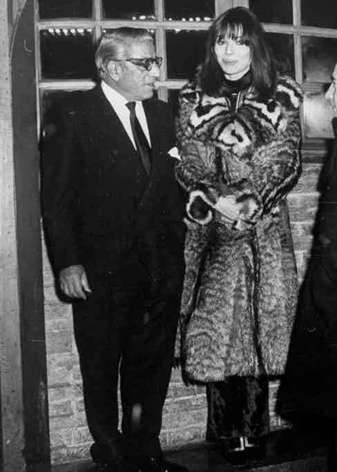 The shipping tycoon Aristotle Onassis and actress Elsa Martinelli outside Chez Castel in 1970.