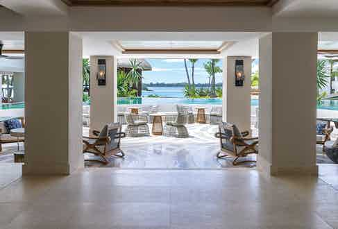 The hotel's foyer and infinity pool