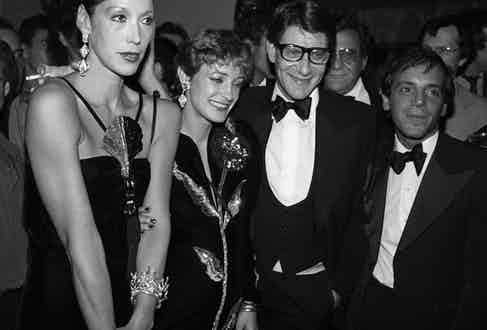 Marina Schiano, Loulou Klossowski, Yves Saint Laurent and Steve Rubell attend Laurent's launch party for his Opium fragrance which took place aboard The Peking, a tall ship docked at The South Street Seaport.  Photo by John Bright/Penske Media/REX/Shutterstock.