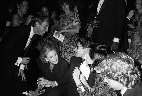 Nan Kempner, Yves Saint Laurent, Diana Vreeland and friends attend Laurent's launch party for his Opium fragrance which took place aboard The Peking, a tall ship docked at The South Street Seaport on September 20, 1978 in New York. Photo by John Bright/Penske Media/REX/Shutterstock.