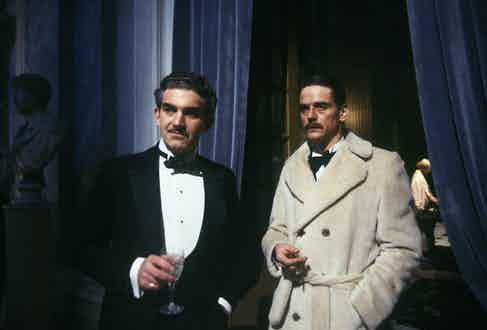 Jeremy Irons wears a teddy bear coat in Brideshead Revisited.