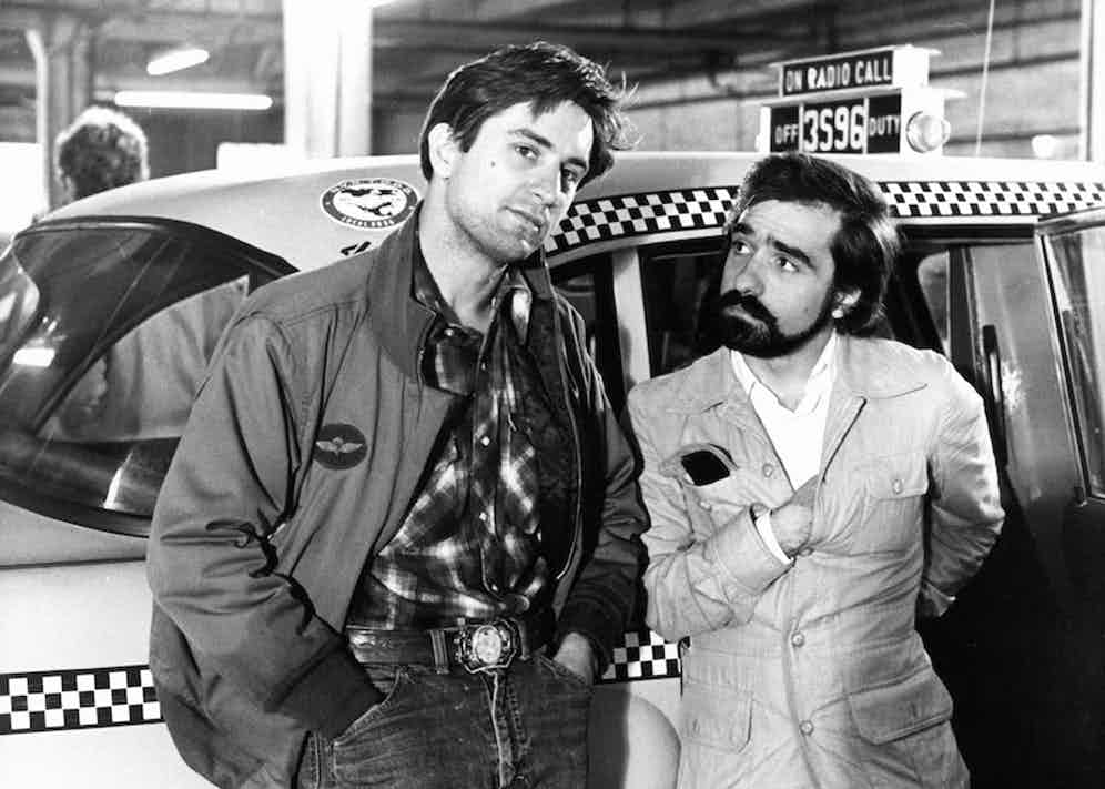 Robert De Niro and Martin Scorsese on the set of the film 'Taxi Driver', 1976. Photo by Columbia Pictures/Getty Images.