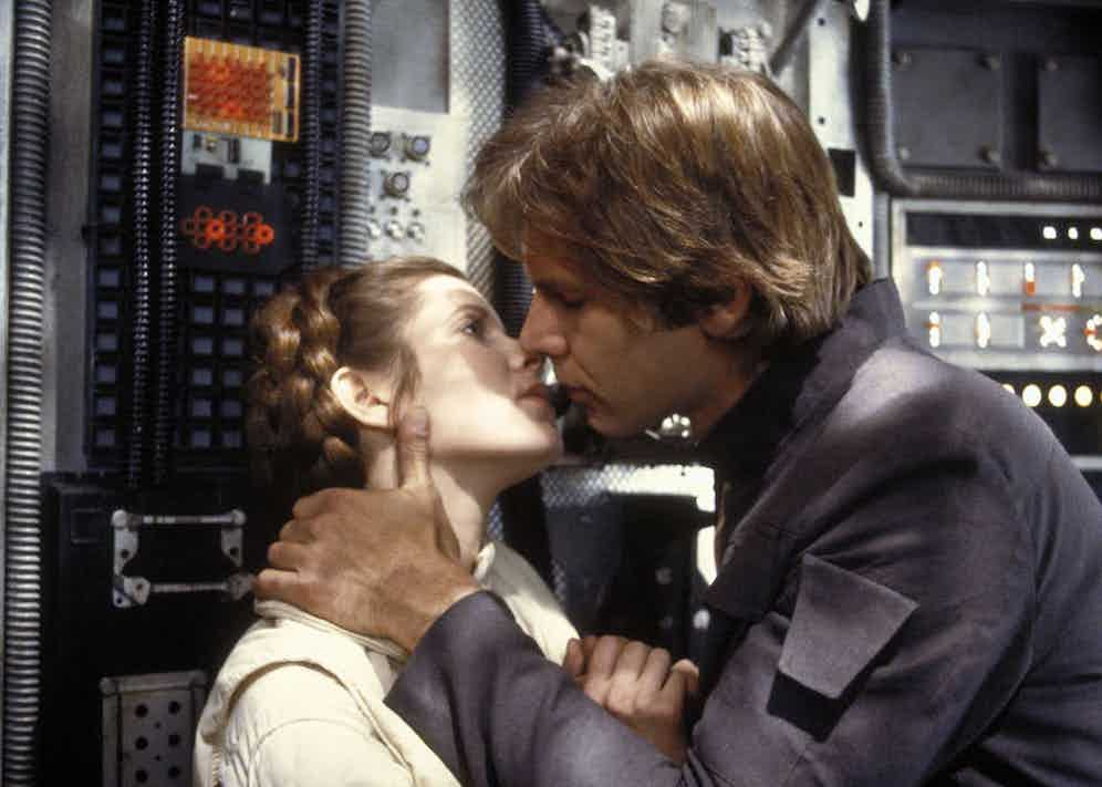 Carrie Fisher and Harrison Ford in The Star Wars Episode V - Empire Strikes Back, 1980. Photo by Lucasfilm/20th Century Fox/REX/Shutterstock.