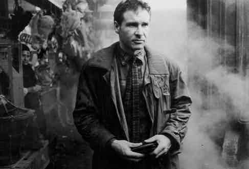 Actor Harrison Ford in a scene from the movie 'Blade Runner', 1982. Photo by Stanley Bielecki Movie Collection/Getty Images.