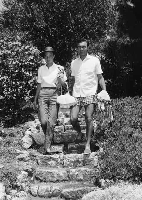 Porfirio Rubirosa With His Fifth Wife Actress Odile Rodin At Edeu Roc Hotel. Photo by Daily Mail/REX/Shutterstock.