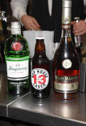 Tanqueray gin, Hop House lager and Remy Martin being served at The Rake's 50th issue party at Hotel Café Royal on February 10, 2017 in London, England.