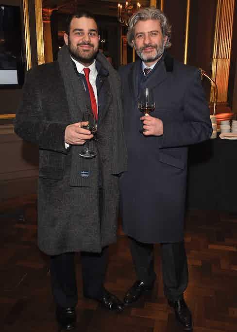 Joseph Thaddeus and Edward Sahakian of Davidoff London at The Rake's 50th issue party at Hotel Café Royal on February 10, 2017 in London, England.