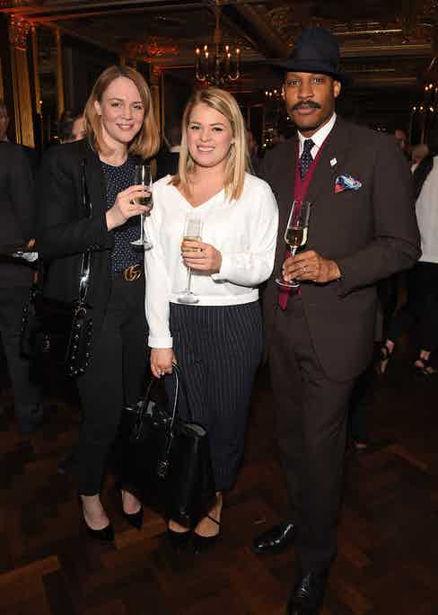 Samantha Knight, Hannah Thirsk and Shaun Gordon at The Rake's 50th issue party at Hotel Café Royal on February 10, 2017 in London, England.