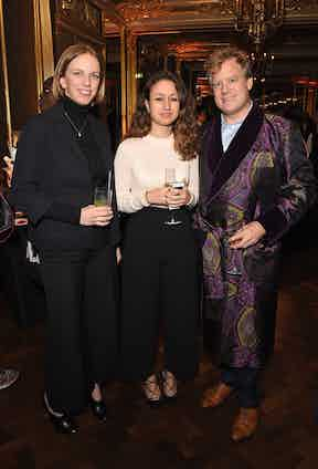 Becky Cesar, Erica Kaounides and Elijah Duckworth Schachter at The Rake's 50th issue party at Hotel Café Royal on February 10, 2017 in London, England.