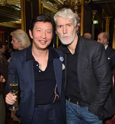 Wei Koh and Aiden Brady at The Rake's 50th issue party at Hotel Café Royal on February 10, 2017 in London, England.