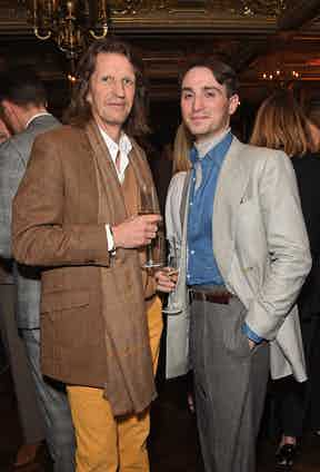 Pierre Lagrange and Domenic Sebag-Montefiore at The Rake's 50th issue party at Hotel Café Royal on February 10, 2017 in London, England.