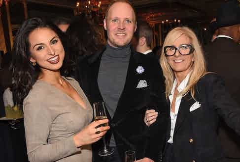Katherine Hajiyianni, The Rake's Publisher David Goodman and Pauline Harris at The Rake's 50th issue party at Hotel Café Royal on February 10, 2017 in London, England.